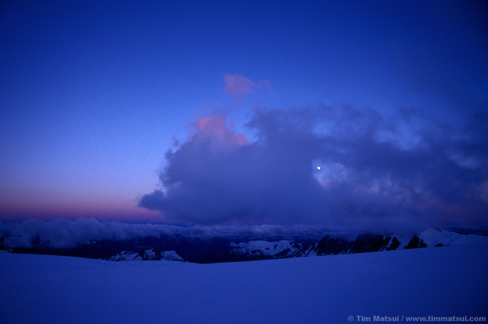 A glacial landscape at dusk in the British Columbia Coast Range.