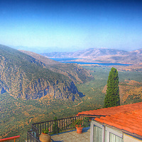 Looking down the lush valley towards the deep perfect blue Ionian Sea from Ancient Delphi and the foothills of Mt. Parnassos, imaging the journey ancient travelers took to reach the Oracle. (HDR version)