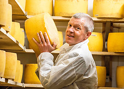 Scottish Lib Dem leader Willie Rennie gets to grips with one of the cheeses when he visited St Andrews Farmhouse Cheese Company in Pitenweem in Fife in the run up to the 2017 General Election.<br /> <br /> &copy; Dave Johnston/ EEm