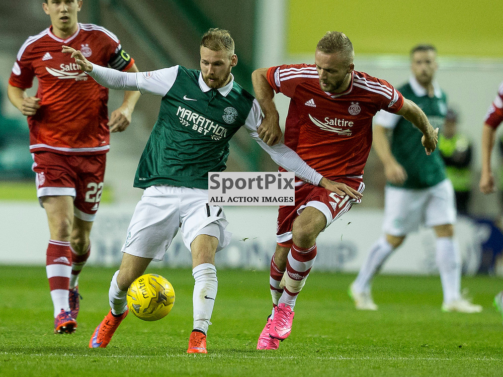 Hibernian FC v Aberdeen FC<br /> <br /> Shay Logan and Martin Boyle (Hibernian) during the Scottish League Cup clash between Hibernian and Aberdeen FC at Easter Road Stadium on 23 September 2015.<br /> <br /> <br /> Picture Alan Rennie.