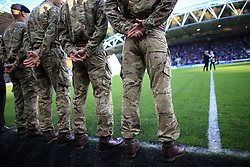 4th November 2017 - Premier League - Huddersfield Town v West Bromwich Albion - Members of the armed forces stand by on the side of the pitch ahead of Remembrance Day proceedings at The John Smith's Stadium - Photo: Simon Stacpoole / Offside.