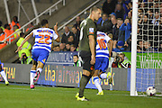 Reading's Nick Blackman (left) celebrates his goal during the Capital One Cup match between Reading and Everton at the Madejski Stadium, Reading, England on 22 September 2015. Photo by Mark Davies.