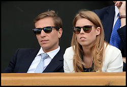 Image ©Licensed to i-Images Picture Agency. 02/07/2014. London, United Kingdom. Princess Beatrice and David Clark watch the Quarter Finals on centre court in the Royal box at  Wimbledon. Picture by Andrew Parsons / i-Images