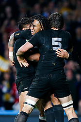 New Zealand Inside Centre Ma'a Nonu celebrates with Lock Sam Whitelock after scoring a try to make it 21-3 - Mandatory byline: Rogan Thomson/JMP - 07966 386802 - 31/10/2015 - RUGBY UNION - Twickenham Stadium - London, England - New Zealand v Australia - Rugby World Cup 2015 FINAL.