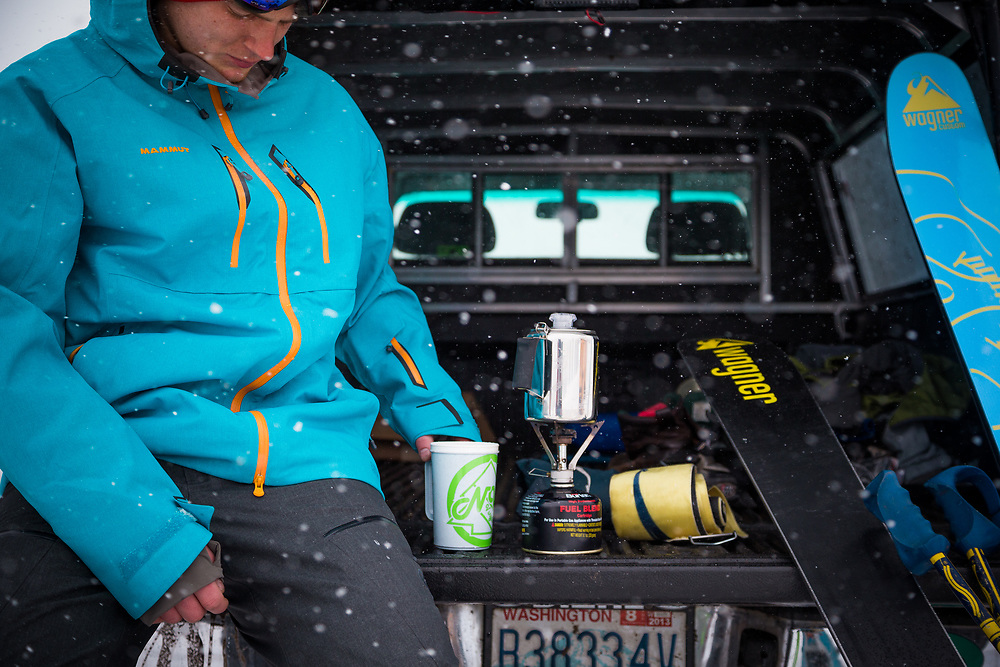 Owen Dudley makes some coffee prior to heading out for some skiing in the Cascades of Washington.