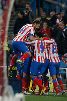 03.02.2013 SPAIN -  La Liga 12/13 Matchday 22th  match played between Atletico de Madrid vs Real Betis Balompie (1-0) at Vicente Calderon stadium. The picture show  Radamel Falcao Garcia (Colombian striker of At. Madrid) celebrating his team's goal