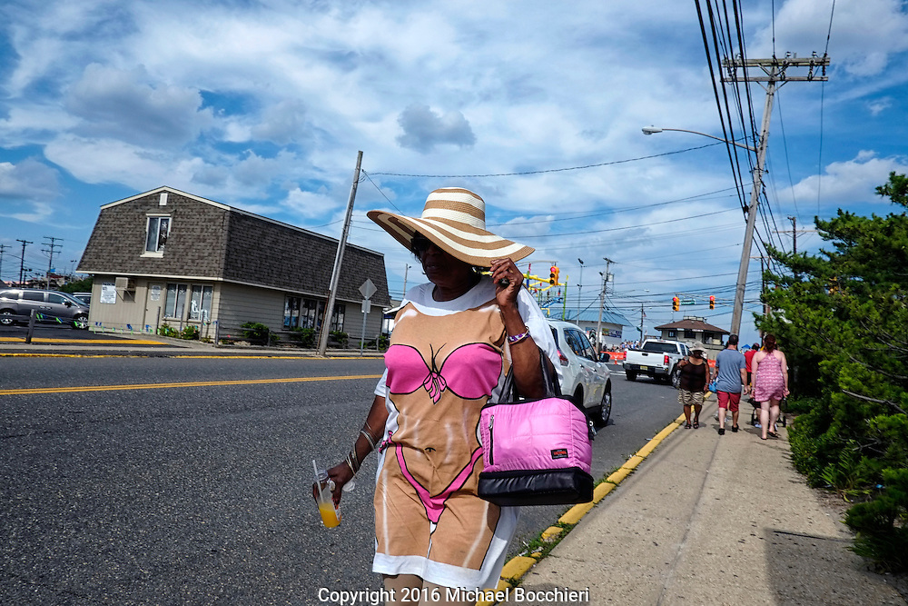 POINT PLEASANT BEACH, NJ - July 26: A woman with a comical t-shirt walks near Jenkinson's Boardwalk on July 26, 2016 in POINT PLEASANT BEACH, NJ.  (Photo by Michael Bocchieri/Bocchieri Archive)