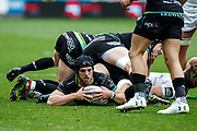 Ospreys full-back Dan Evans places the ball during the Guinness Pro 12 2017 Round 21 match between Ospreys and Ulster at the Liberty Stadium, Swansea, Wales on 29 April 2017. Photo by Andrew Lewis.