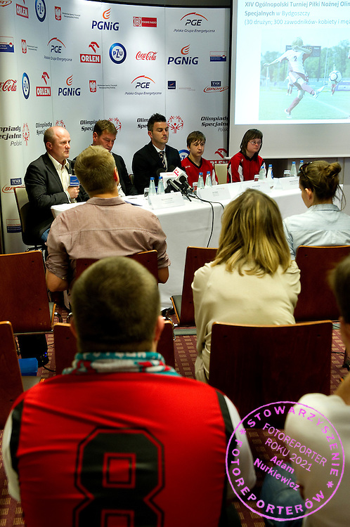(L-R) Boguslaw Galazka - Director of Special Olympics Poland & Jan Urban & Michal Zewlakow & SO athlete while Special Olympics's press conference before European Football Week at Novotel Hotel in Warsaw on May 15, 2013..The mission of Special Olympics is to provide sports training and athletic competition for children and adults with intellectual disabilities...Poland, Warsaw, May 15, 2013...Picture also available in RAW (NEF) or TIFF format on special request...For editorial use only. Any commercial or promotional use requires permission...Photo by © Adam Nurkiewicz / Mediasport