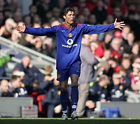 Photo: Lee Earle.<br /> Liverpool v Manchester United. The FA Cup. 18/02/2006. United's Cristiano Ronaldo shows his frustration.