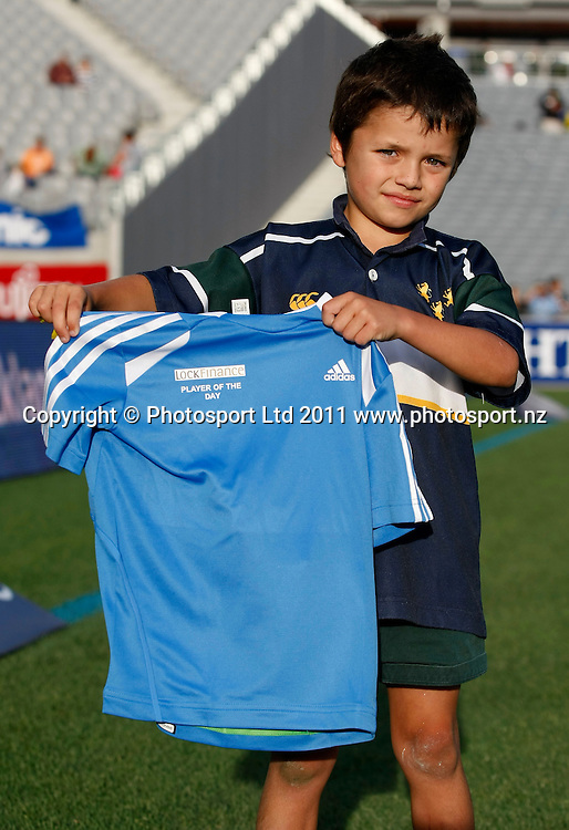 Junior Blues Player of the Day. Blues v Hurricanes, Investec Super Rugby, Eden Park, Auckland, New Zealand. Saturday 19 March 2011 . Photo: Simon Watts / photosport.co.nz