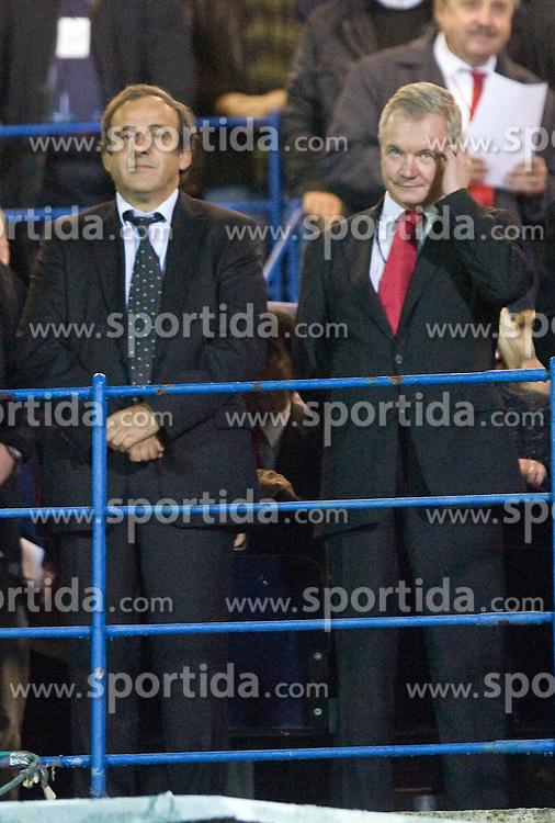 Michel Platini (L) at  the 2010 FIFA World Cup South Africa Qualifying match between Slovakia and Slovenia, on October 10, 2009, Tehelne Pole Stadium, Bratislava, Slovakia. Slovenia won 2:0. (Photo by Vid Ponikvar / Sportida)