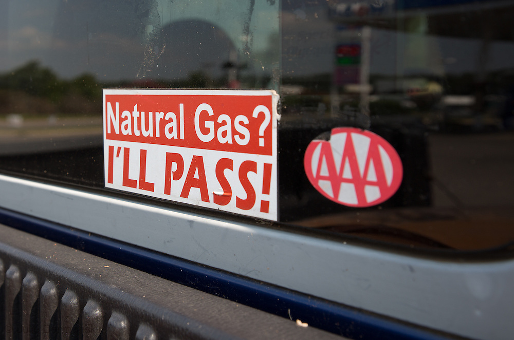 Dirk DeTurck's truck with an anti fracking sticker on it.