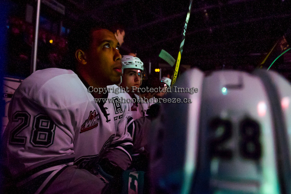 KELOWNA, CANADA - DECEMBER 7: Keegan Kolesar #28 of the Seattle Thunderbirds sits on the bench at the start of the game against the Kelowna Rockets on December 7, 2016 at Prospera Place in Kelowna, British Columbia, Canada.  (Photo by Marissa Baecker/Shoot the Breeze)  *** Local Caption ***