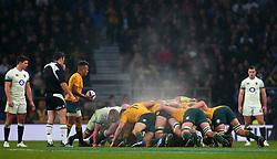 Steam rises as The England and Australia packs contest a scrum - Mandatory by-line: Robbie Stephenson/JMP - 18/11/2017 - RUGBY - Twickenham Stadium - London, England - England v Australia - Old Mutual Wealth Series