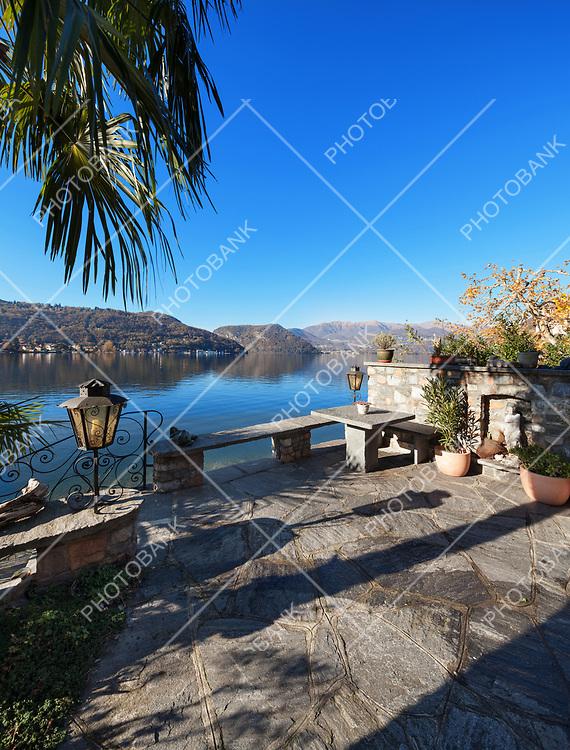beautiful terrace overlooking Lake Lugano, Switzerland
