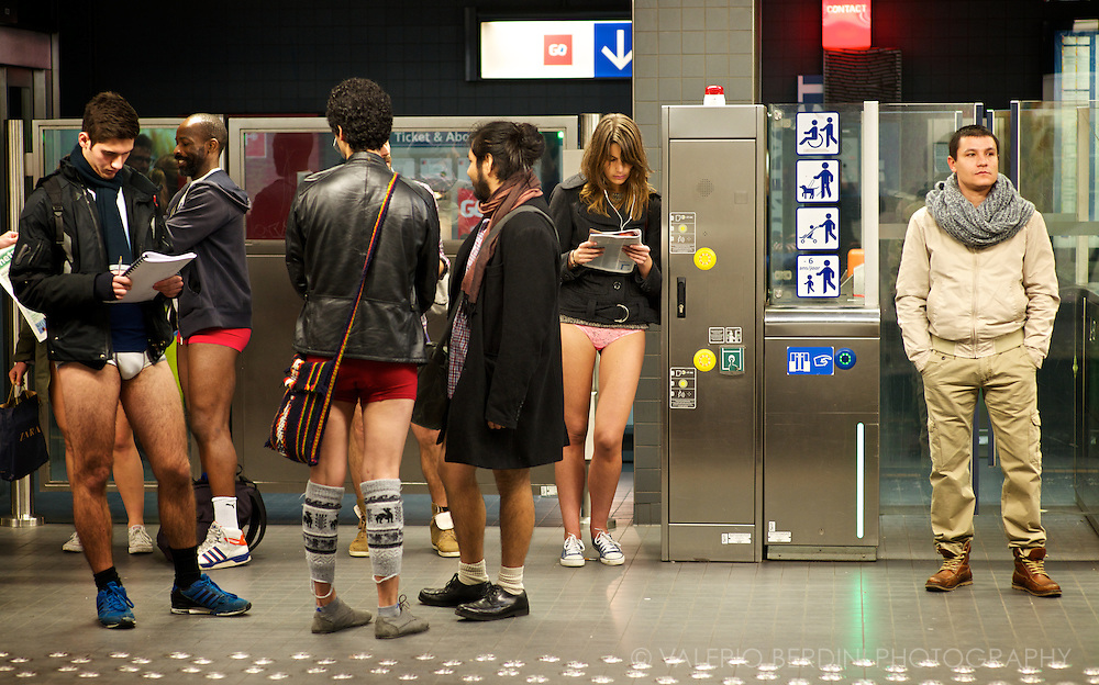 Brussels, Belgium. 2014  The first No Pants Subway Ride in Brussels took place on the 12th of January 2014 at 15:00 from Metro Louise.