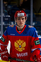 KELOWNA, BC - DECEMBER 18:  Evgenii Kalabushkin #3 of Team Russia warms up against the Team Sweden at Prospera Place on December 18, 2018 in Kelowna, Canada. (Photo by Marissa Baecker/Getty Images)***Local Caption***