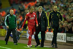 LIVERPOOL, ENGLAND - Wednesday, December 15, 2010: Liverpool's manager Roy Hodgson with Nathan Eccleston during the UEFA Europa League Group K match against FC Utrecht at Anfield. (Photo by: David Rawcliffe/Propaganda)