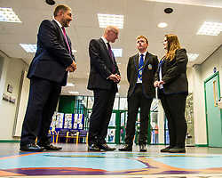 Pictured: Head teacher Graham Hamilton introduced Mr Swinney to head boy Kyle Rowan and Head Girl Sophie Gardiner<br /> <br /> Education Secretary  John Swinney visited Firrhill School today and met students and parents as the results were available for opening.<br /> <br /> <br /> Ger Harley | EEm 7 August 2018