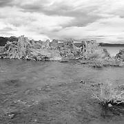 Mono Lake Tufa And Windy Shoreline - Incoming Storm - Black & White