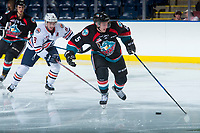 KELOWNA, CANADA - SEPTEMBER 5: Konrad Belcourt #5 of the Kelowna Rockets moves the puck up the ice against the Kamloops Blazers on September 5, 2017 at Prospera Place in Kelowna, British Columbia, Canada.  (Photo by Marissa Baecker/Shoot the Breeze)  *** Local Caption ***