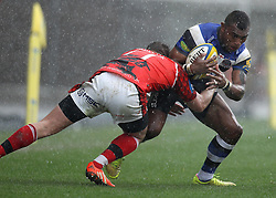Bath's Semesa Rokoduguni is tackled by London Welsh's Nathan Trevett - Photo mandatory by-line: Robbie Stephenson/JMP - Mobile: 07966 386802 - 29/03/2015 - SPORT - Rugby - Oxford - Kassam Stadium - London Welsh v Bath Rugby - Aviva Premiership