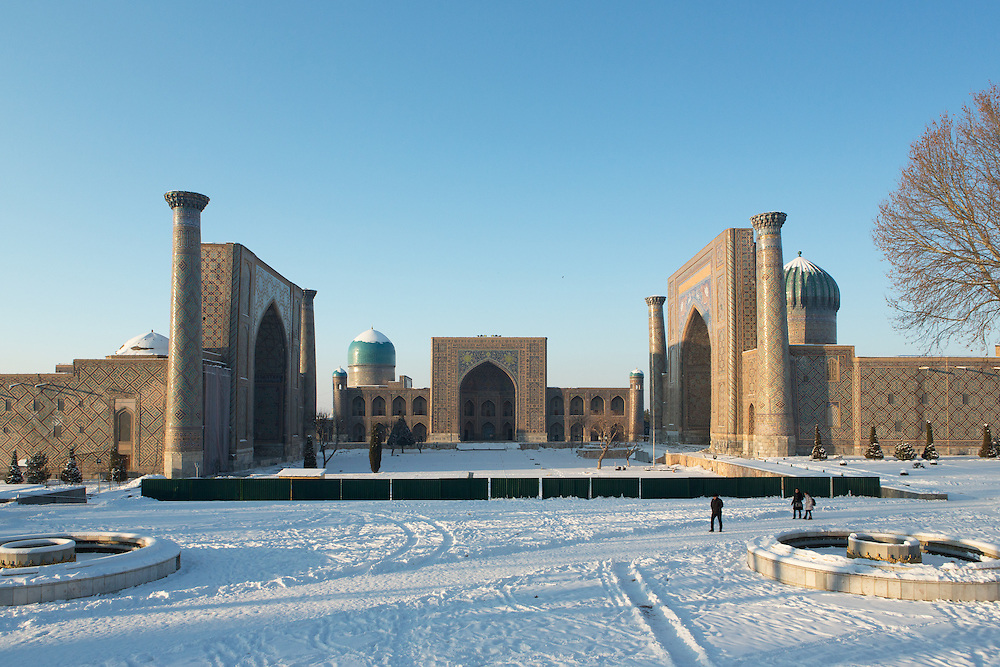 Snow on the Silk Road: snow on the ground and domes of the 15-17th Century madrasahs of the Registan, Samarkand. Feb 5-6, 2014 saw a rare sustained snowy period in Samarkand, Uzbekistan, breaking record lows and resulting in school closures and power outages