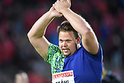 Daniel Stahl (SWE) celebrates after winning the discus with a throw of 228-3 (69.57m)during the Bauhaus-Galan in a IAAF Diamond League meet at Stockholm Stadium in Stockholm, Sweden on Thursday, May 30, 2019. (Jiro Mochizuki/Image of Sport)