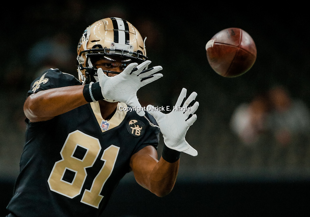 Aug 30, 2018; New Orleans, LA, USA; New Orleans Saints wide receiver Cameron Meredith (81) before a preseason game against the Los Angeles Rams at the Mercedes-Benz Superdome. Mandatory Credit: Derick E. Hingle-USA TODAY Sports