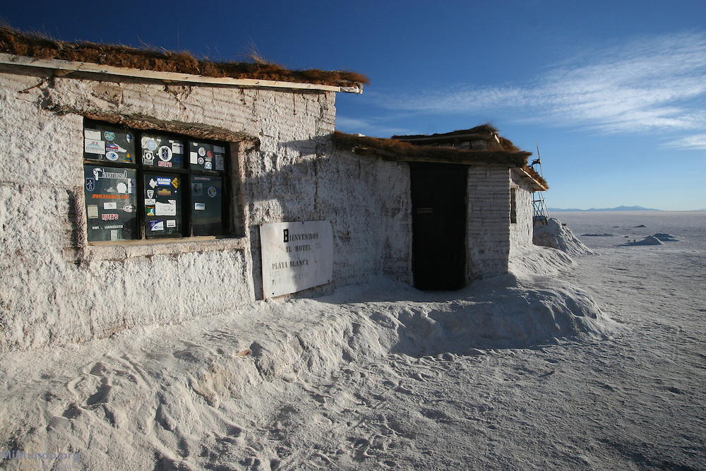 The Salt Hotel, Salar de Uyuni. The world's largest salt flat, the Salar de Uyuni sits at 3,600 meters above sea level and has a total surface area of 10,582 square kilometers.