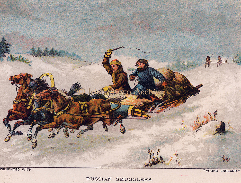Russian smugglers escaping  pursuit. Print 1888.