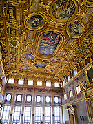 View of the ceiling of the Golden Hall/Goldener Saal, of the Augsburg Town Hall, Rathaus, Augsburg, Bavaria, Germany
