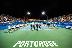 Trophy ceremony after the Final Singles match at Day 9 of ATP Challenger Zavarovalnica Sava Slovenia Open 2018, on August 11, 2018 in Sports centre, Portoroz/Portorose, Slovenia. Photo by Vid Ponikvar / Sportida