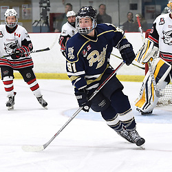 GEORGETOWN, ON  - APR 8,  2018: Ontario Junior Hockey League, South West Conference Championship Series. Game six of the best of seven series between Toronto Patriots and the Georgetown Raiders. Michael Boushy #91 of the Toronto Patriots follows the play during the third period.<br /> (Photo by Andy Corneau / OJHL Images)