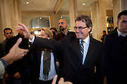 Artur Mas, the President of Catalonia, is coming in the Majestic Hotel where the Elections night of CIU party is being celebrated.