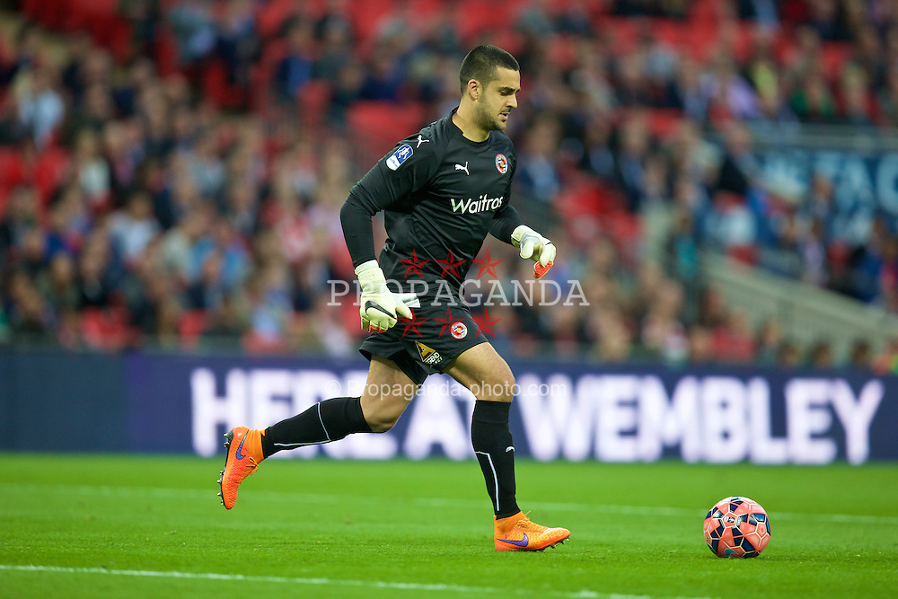 LONDON, ENGLAND - Saturday, April 18, 2015: Reading's goalkeeper Adam Federici in action against Arsenal during the FA Cup Semi-Final match at Wembley Stadium. (Pic by David Rawcliffe/Propaganda)