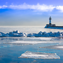 February in Minnesota. A below zero morning at Lake Superior in Duluth.