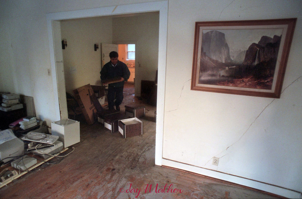 Flooding came half way up the walls of the old Superintendents Cabin in Yosemite National Park.  The structure was used a office space and most of the contents were damaged or destroyed.