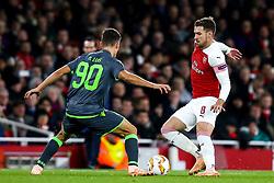 Aaron Ramsey of Arsenal takes on Miguel Luis of Sporting Lisbon - Mandatory by-line: Robbie Stephenson/JMP - 08/11/2018 - FOOTBALL - Emirates Stadium - London, England - Arsenal v Sporting Lisbon - UEFA Europa League