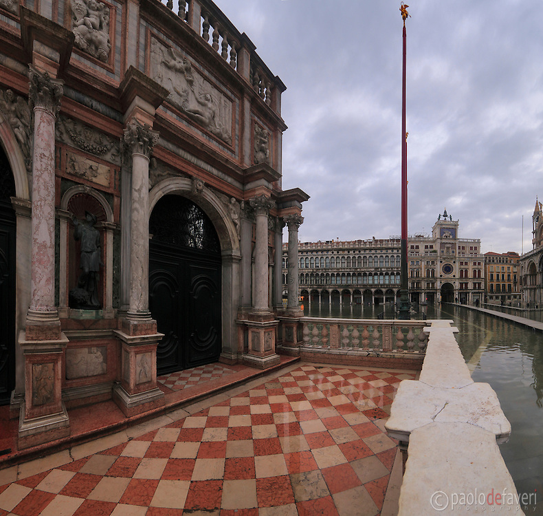 The Loggia del Sansovino in San Marco square, Venice. Taken on a rainy day of February, with the square flooded by the acqua alta (high tide).