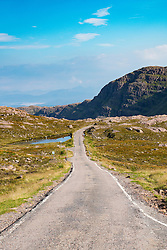 Remote highway and mountain pass Bealach na Bà on Applecross Peninsula, Wester Ross, part of north Coast 500 tourist route, Scotland , United Kingdom