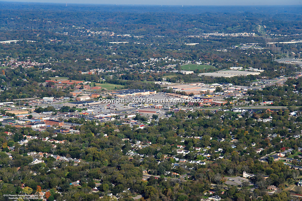 Aerial photo of the Gallatin Road and Old Hickory Boulevard intersection showing Old Time Pottery and Kroger in Goodletsville Tennessee.