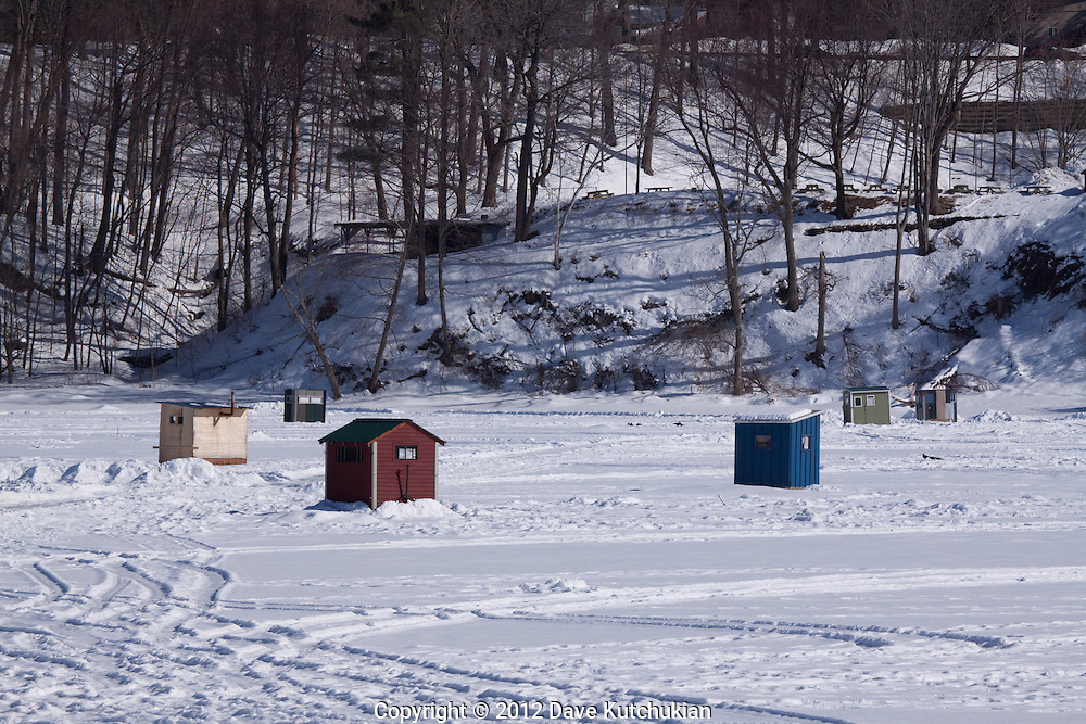 Ice Fishing on the west river, Brattleboro, VT