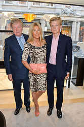 The HON.CHARLES PEARSON his wife LILA PEARSON and their son GEORGE PEARSON at the Jaeger-LeCoultre Gold Cup draw 2016 held at Jaeger-LeCoultre, Bond Street, London on 6th June 2016.