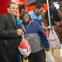 All-Star Celebrity Turkey Give-Away featuring comedian Mike Epps, former boxer Thomas Hearns, and rapper Big Sean at Don Bosco Hall in the Cody Rouge neighborhood of Detroit.