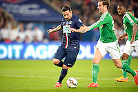 Ezequiel Lavezzi / Faute de Francois Clerc - 08.04.2015 - Paris Saint Germain / Saint Etienne - 1/2Finale Coupe de France<br /> Photo : Andre Ferreira / Icon Sport