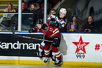 KELOWNA, BC - FEBRUARY 15: Jaxsen Wiebe #17 of the Red Deer Rebels back checks Kyle Topping #24 of the Kelowna Rockets at Prospera Place on February 15, 2020 in Kelowna, Canada. (Photo by Marissa Baecker/Shoot the Breeze)