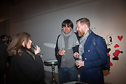 ALEX JAMES; NICK MULHOLLAND, Steve Lazarides and Pepsi host a collaboration of Street Art, Photography and Football. Photos of footballers by Danny Clinch, paintings by 6 'leading street artists' Victoria House, Southampton Row. London. 17 February 2014.