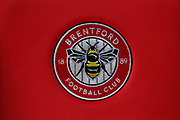 Brentford club badge on dugout seating during the EFL Sky Bet Championship match between Brentford and Bolton Wanderers at Griffin Park, London, England on 22 December 2018.